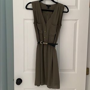 H&M army green belted dress size 6